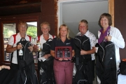  left to right:  May Johnson, Diana Beebe (Low Net Winners), Liz Stephens from Investors Group, Cherie Baker and Sue Hayes (Low